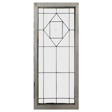 Antique American Beveled & Leaded Glass Window, Hand-Cut Star