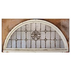 Antique Arched American Leaded Glass Window, Fleur-De-Lis