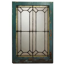 Antique Geometric Leaded Glass Windows, c.1920