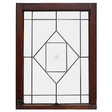 Antique American Beveled & Leaded Glass Windows, Hand-Cut Star