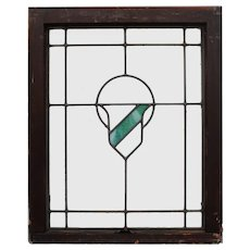 Antique American Arts & Crafts Stained Glass Windows with Shield