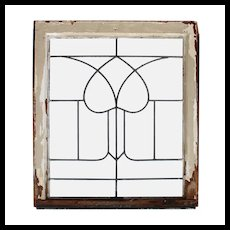 Salvaged Antique American Leaded Glass Windows, Stylized Tulip
