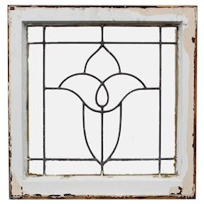 Antique American Leaded Glass Windows, Stylized Flower