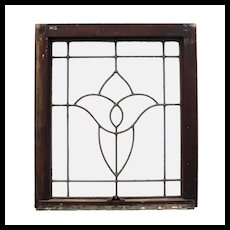 Salvaged Antique American Leaded Glass Windows, Stylized Flower