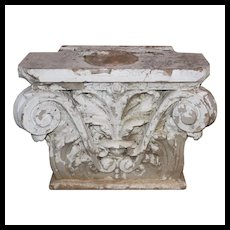 Antique Terra Cotta Pilaster Capital, Early 1900's
