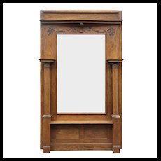 Antique Quarter Sawn Oak Console Mirror, c. 1905