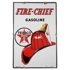 "Vintage Porcelain ""Texaco Fire Chief Gasoline"" Advertising Sign"
