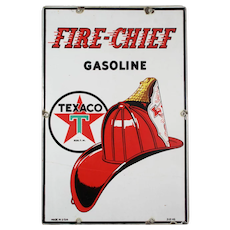 """Vintage Porcelain """"Texaco Fire Chief Gasoline"""" Advertising Sign"""