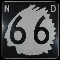 Vintage North Dakota Highway 66 Sign
