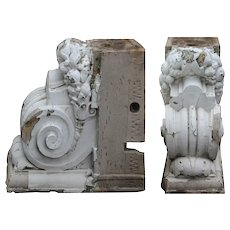 Large Matching Antique Terracotta Corbels