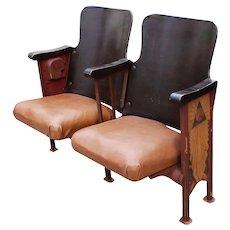 Antique Art Deco Theatre Seats, c.1920s