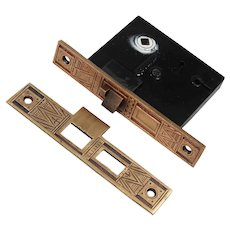 Antique Bronze Eastlake Mortise Lock and Striker, P.F. Corbin