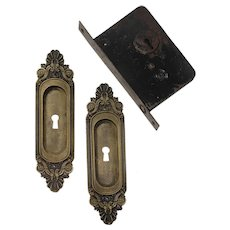 "Complete Antique Brass ""Olympus"" Pocket Door Hardware Set by Russell & Erwin"