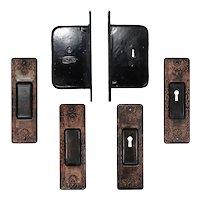 Complete Antique Pocket Door Hardware Set for Double Doors, c.1886