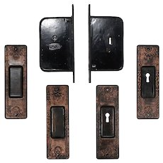 Complete Antique Pocket Door Hardware Set for Double Doors, c.1886