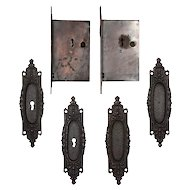Complete Antique Double Pocket Door Hardware Set by Russell and Erwin, c.1883