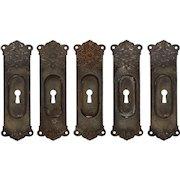 Neoclassical Pocket Door Plates in Cast Iron, Antique Hardware