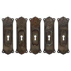 Neoclassical Pocket Door Plates in Cast Iron, Antique Hardware