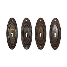 """Antique """"Lydian"""" Pocket Door Plates by Yale & Towne, c. 1910"""