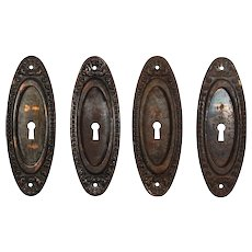 "Antique ""Lydian"" Pocket Door Plates by Yale & Towne, c. 1910"