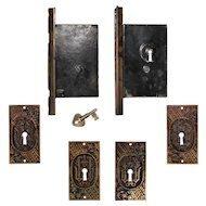 Complete Antique Double Pocket Door Hardware Set, New Old Stock