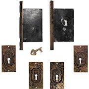 Complete Antique Double Pocket Door Hardware Set, New Old Stock
