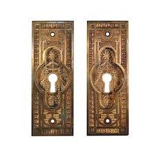 Antique Eastlake Pocket Door Plates, Late 19th Century