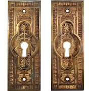 Antique Eastlake Pocket Door Plates, Late 19th Century