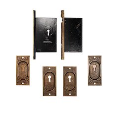 Complete Antique Eastlake Double Pocket Door Hardware Set by Corbin