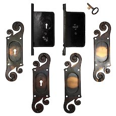 "Complete Antique ""Mt. Vernon"" Double Pocket Door Hardware Set by Reading Hardware"