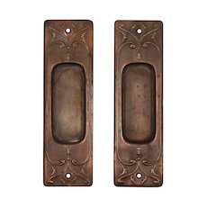 """Antique """"Clermont"""" Pocket Door Plate Pair by Russell & Erwin, c. 1909"""