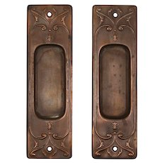 "Antique ""Clermont"" Pocket Door Plate Pair by Russell & Erwin, c. 1909"
