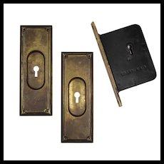 Complete Antique Brass Pocket Door Hardware Set for Single Door, c.1886