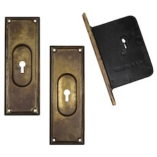 Complete Antique Brass Pocket Door Hardware Set for Single Door, c.1886