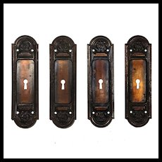 Antique Arched Pocket Door Plates, c. 1900