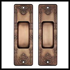Antique Pocket Door Plate Pair, Signed B.L.W.