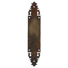 Antique Cast Iron Push Plate with Fleur-De-Lis