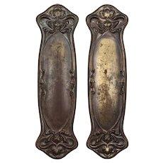 """Antique """"Nouvelle"""" Art Nouveau Push Plates by Reading Hardware"""