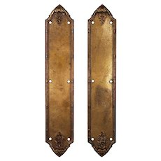 Rare Antique Cast Bronze Georgian Style Push Plates by Sargent
