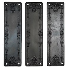 Antique Neoclassical Push Plates, Early 1900s