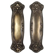 "Antique ""Nouvelle"" Art Nouveau Push Plates by Reading Hardware"