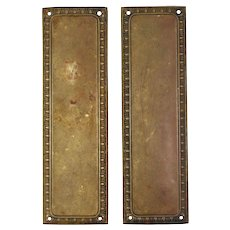 Antique Bronze Push Plate with Egg-and-Dart, c.1920
