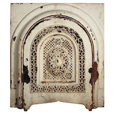 Antique Cast Iron Fireplace Cover & Surround