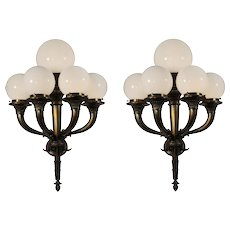 Substantial Antique Brass Sconces with Glass Globes, Early 1900s