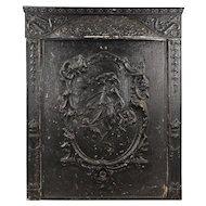 Antique Cast Iron Figural Fireplace Cover and Surround, C. 1900s