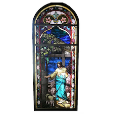 Rare William Reith Antique Figural Stained Glass Window, Christ as Shepherd with Sheep