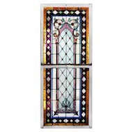 Large Antique American Stained Glass Sash Set, c.1880