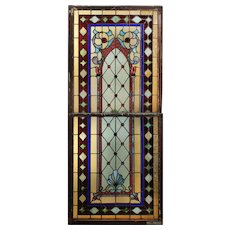 Large Antique American Stained Glass Sash Set, Late 19th Century