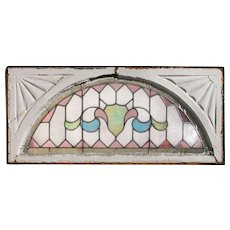 Antique Arched American Stained Glass Window