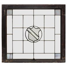 Antique American Leaded and Stained Glass Window, Shield